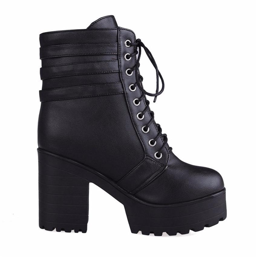 Spring Autumn Platform Square High Heels Ankle Boots Women Short Boots Ladies Shoes botas botte femme Plus Size 34-40.41.42.43