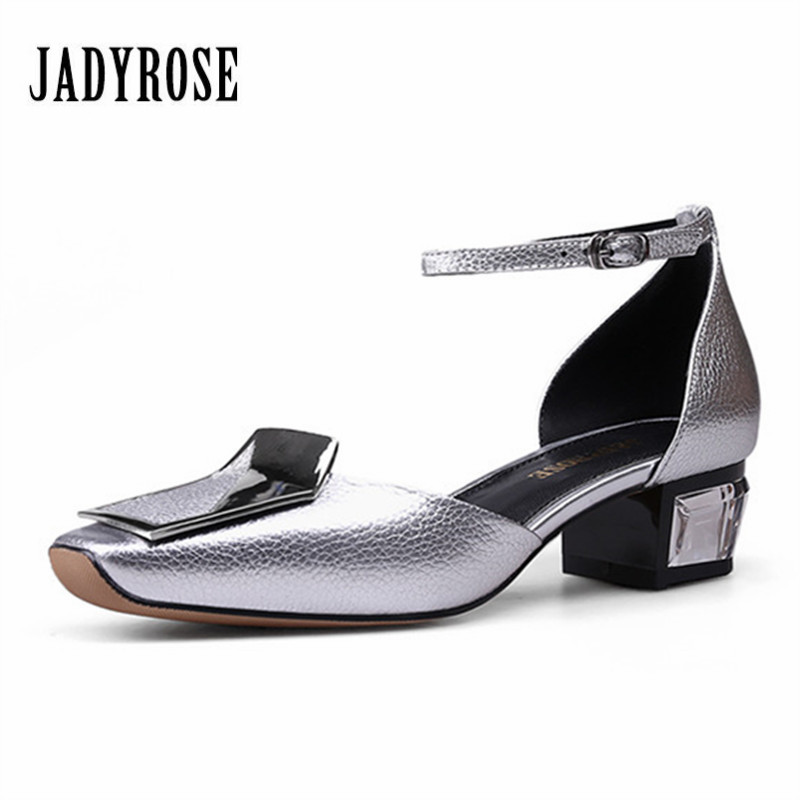 Jady Rose New 2017 Square Toe Silver Women's Gladiator Sandals Crystal Mid Heel Shoes Woman Ankle Strap Summer Stiletto Footwear phyanic 2017 gladiator sandals gold silver shoes woman summer platform wedges glitters creepers casual women shoes phy3323