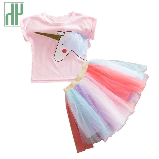 67e7e21c1f6e Girls clothes Cartoon Unicorn Printed T Shirts+Net Veil Colorful ...