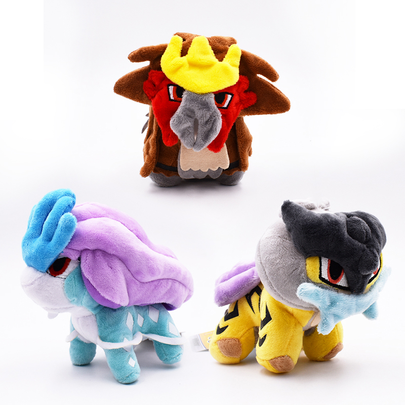 3 PCS sets Anime Three God Beast Suicune Raikou Entei Peluche Stuffed Plush Cartoon Dolls Hot Christmas Gift Toy For Children in Movies TV from Toys Hobbies