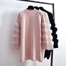 Fashion Rabbit real Fur Sweater Dress Autumn Long Sleeve splice Jumpers Women Sweaters Knitted Dresses Plus Size Clothing