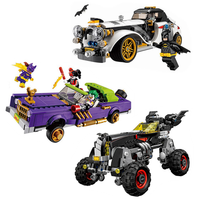 NEW Compatible With Legoings Batman Movie 3Set Joker`s Lowrider Penguin Classic Robbin`s Car Building Blocks Bricks Toy