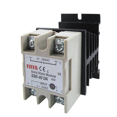 High quality  Single Phase Solid state relay SSR-40DA 40A DC-AC 3-32V 24-380V with heat sink ssr 40da single phase solid state relay white silver
