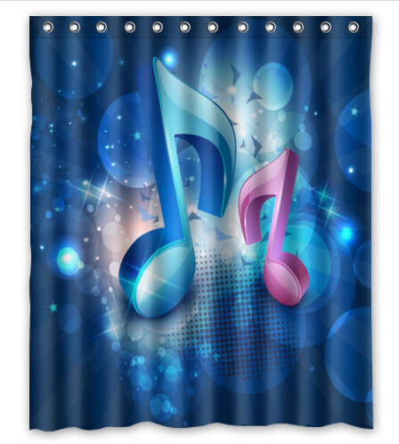 Free Shipping Blue Music Note Custom Shower Curtain Home Decor Waterproof Fabric Fashion Bath SCN 082