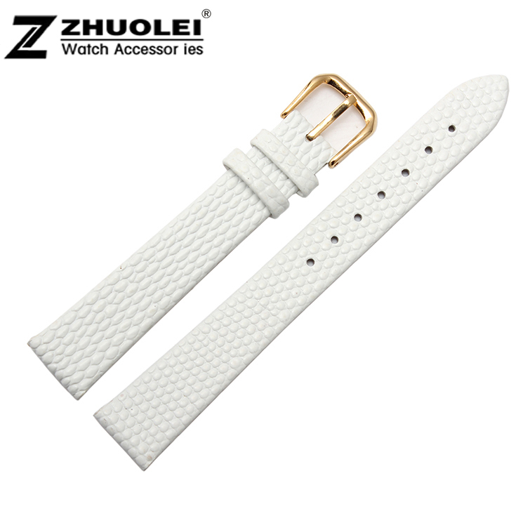 59ee4630b7a7 10mm 12mm 14mm 16mm 18mm 20mm New High quality White Genuine Leather Watch  Band Strap Bracelet With Gold Butterfly Buckle Clasp