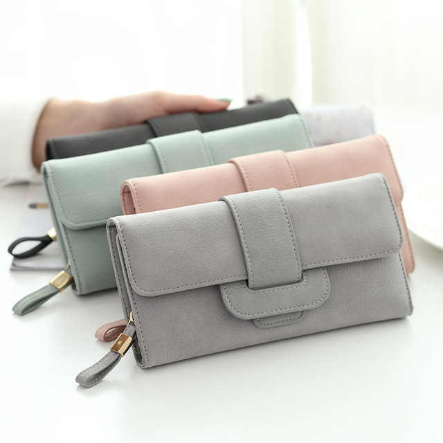 Ladies leather wallet 2017 Casual Solid Long womens wallets and purses Hasp Coin Cards Holder Soft Female Purse fashion designer