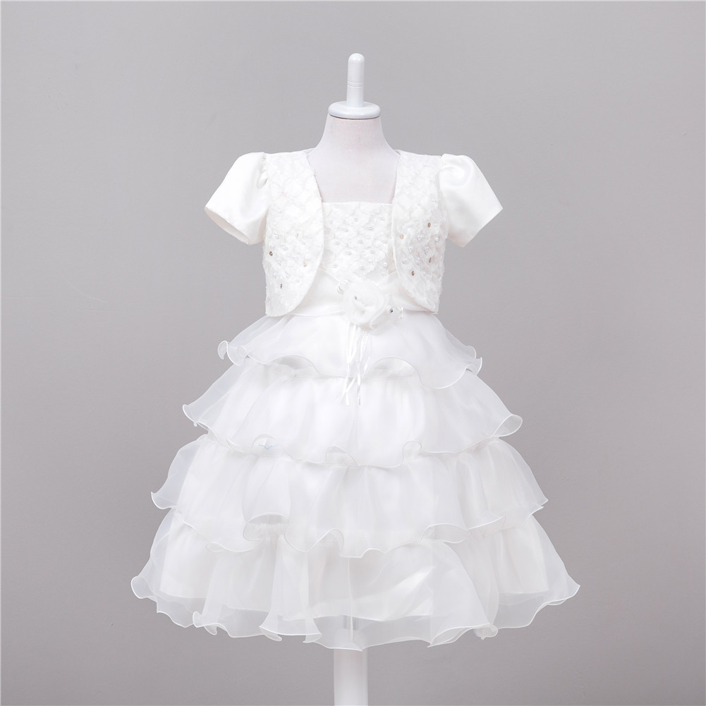 Fashion children clothing embroidery beads mesh wedding dresses lace kids white halter first communion dress with lace cape fashion white with red coral beads necklaces nigerian african wedding beads jewelry set free shipping abg354