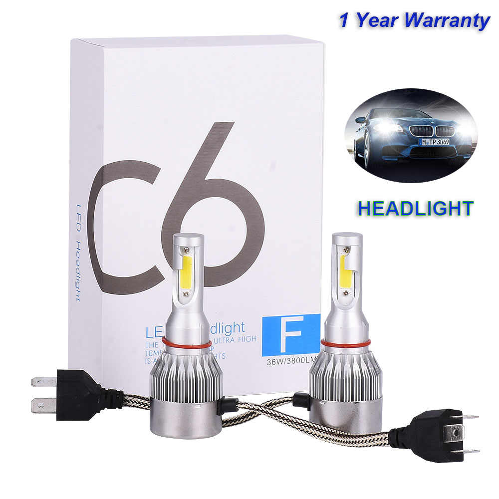 2Pcs Infitary H7 LED H4 Auto Car Headlight 9005 9006 H3 H13 H8 880 H27 9004 9007 H11 LED H1 C6 72W 7600LM 6000K Automobile Bulb