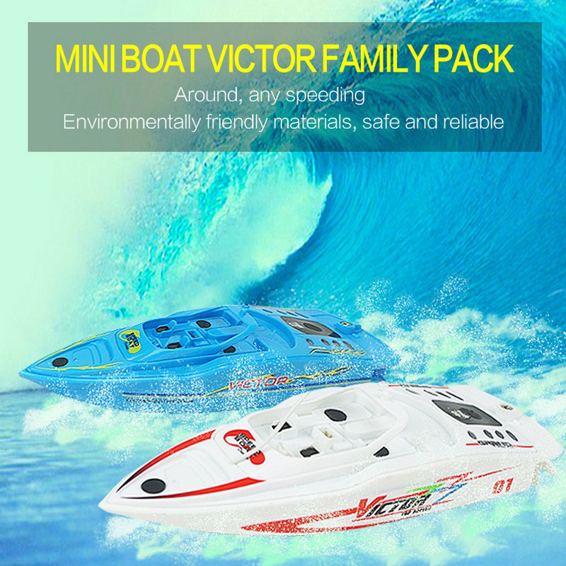 2Pcs/Set High Speed RC Boat 4CH 2.4V 27MHZ/40MHZ Radio Remote Control <font><b>Fishing</b></font> Boat Plastic Mini RC Ship With Inflatable Pool