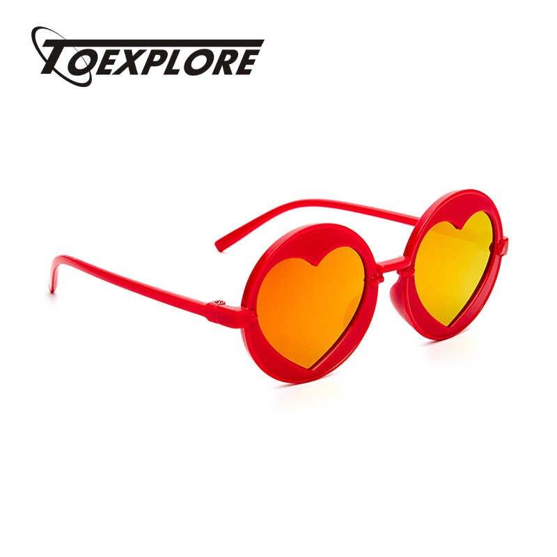 db742f5d88a6 TOEXPLORE Round Children Sunglasses Boys Girls LOVE Heart Mirror Vintage  Sun Glasses Brand Design Eyewear Retro