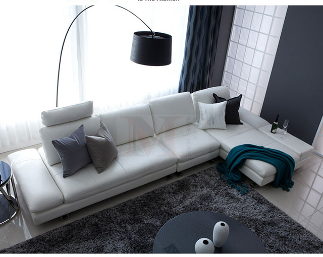 White Leather Sofa Sectional Couch L Shape w/ Stainless Steel Legs 4