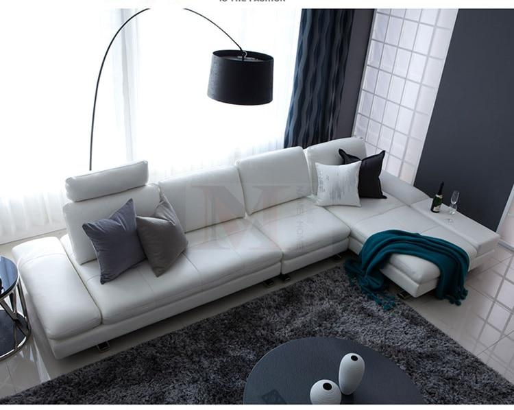 sofá de cuero real sala de estar seccional sofá esquina muebles - Mueble - foto 4
