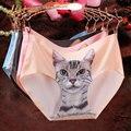 2016 Barato de la Alta Calidad Perfecta Escritos de Las Mujeres Sexy Pussy Cat algodón Bragas Ropa Interior Femenina Pantalones Cortos ropa interior mujer