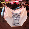 2016 Cheap High Quality Seamless Briefs Women Sexy Cat Pussy cotton Panties Female Underwear Short Pants ropa interior mujer
