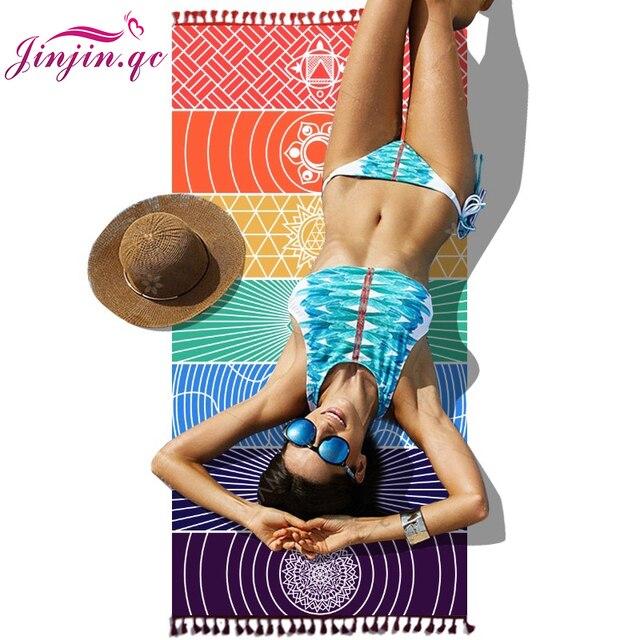 Jinjin. QC 2019 nueva India colorida como echarpe Toalla de playa Mandala manta Arco Iris poliéster mujer bufanda Envío Directo JJ0116