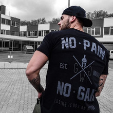 2019 Summer New Arrival Bodybuilding Fitness Mens Short Sleeve Letter T-shirt Gyms Shirt Men Muscle Tights T Tops