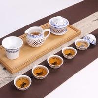 10 cái/bộ Blue and White Porcelain Teaset Hollow Tinh Tế Bộ Trà Kung Fu Ấm Trà Gaiwan Tách Trà Trà Phụ Kiện Bán Buôn