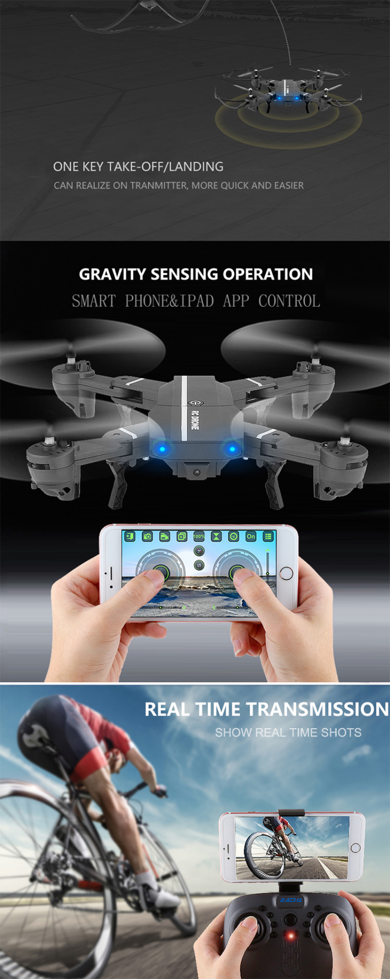 Wifi FPV RC Quadcopter 8807 G-sensor Altitude Hold Foldable Selfie APP remote control RC Drones With 480p 720P HD Camera vs H37
