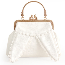 2017 New Arrival Lolita Style White Color Rabbit Ear Lace Cartoon Chain Metal Frame Crossbody Women  Shoulder Tote Shell Bag