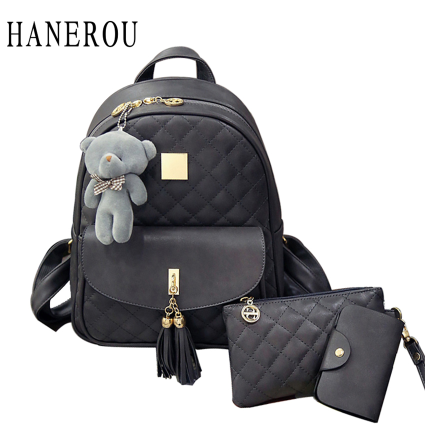 3 Pcs Bear Backpack Women Bag Diamond Lattice School Bags For Girls Backpacks For Women 2019 New Tassel Shoulder Bags Sac A Dos(China)