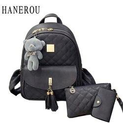 3 pcs bear backpack women bag diamond lattice school bags for girls backpacks for women 2017.jpg 250x250
