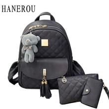 3 adet ayı sırt çantası kadın çanta elmas kafes okul çantaları kızlar için sırt çantaları kadınlar için 2019 yeni püskül omuz çantaları Sac dos