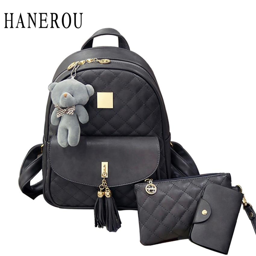 3 шт. медведь рюкзак женщин сумка алмазов решетки школьные сумки для девочек рюкзаки для 2017, женская обувь Новый кисточкой сумки на плечо Sac DOS