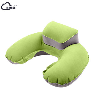 2020 New Portable Travel Inflatable Neck Pillow U Shape Blow Up Neck Cushion PVC Flocking Pillow for Flight Travel Accessories