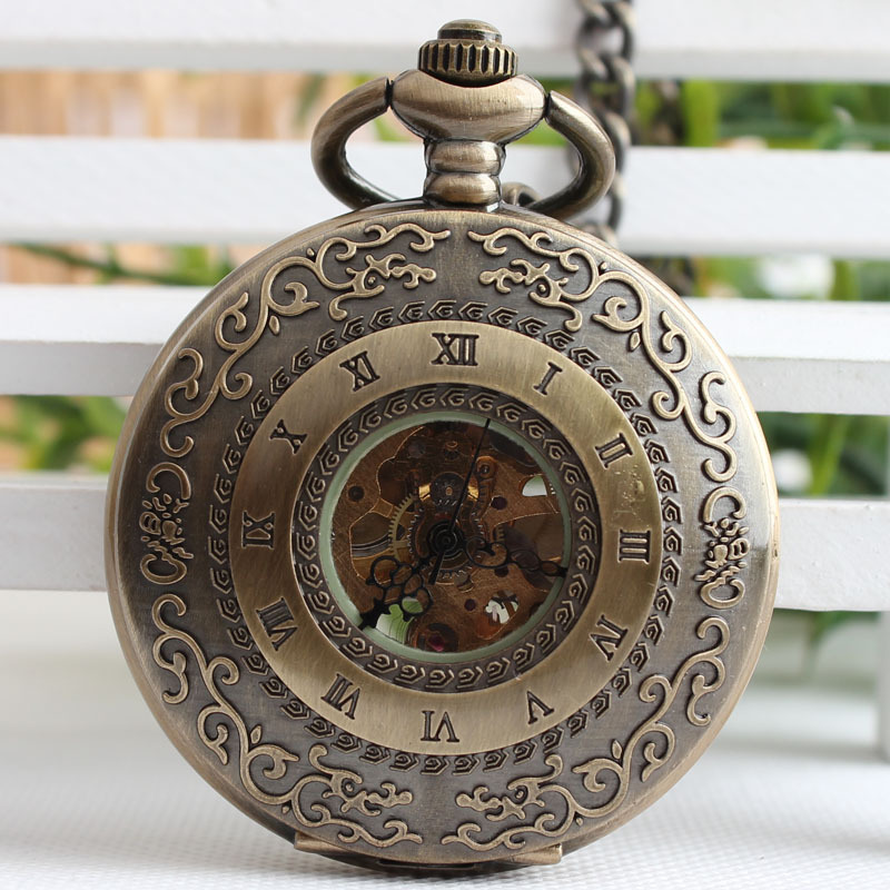 Steampunk Skeleton Bronze Mechanical Pocket Watch Men Vintage Clock Necklace Pocket Watches With Chain Relogio De Bolso TJX043 fashion vintage pocket watch train locomotive quartz pocket watches clock hour men women necklace pendant relogio de bolso