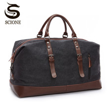 купить Scione Canvas Leather Men Travel Bags Carry on Luggage Bag Men Duffel Bags Travel Tote Large Weekend Bag Overnight Male Handbag дешево