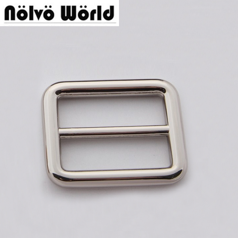 50pcs 32mm 1 2 inch Nickel Sewing Craft belts bags fasteners Round Edge Buckle Strap Adjuster