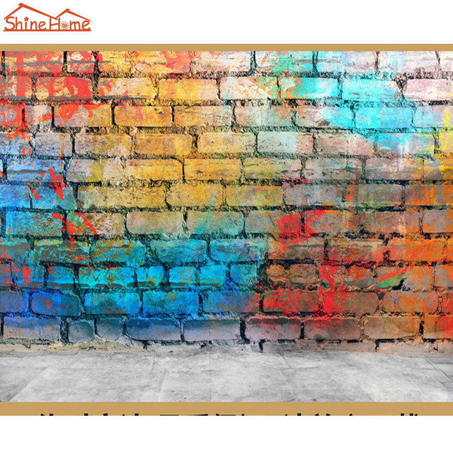 ShineHome-Retro Color Painting on Brick Graffiti 3d Wallpaper Murals for Walls Roll Wall Paper Rolls Papel Pintado Pared Rollos shinehome skyline sea wave sunset seascape wallpaper rolls for 3d walls wallpapers for 3 d living rooms wall paper murals roll