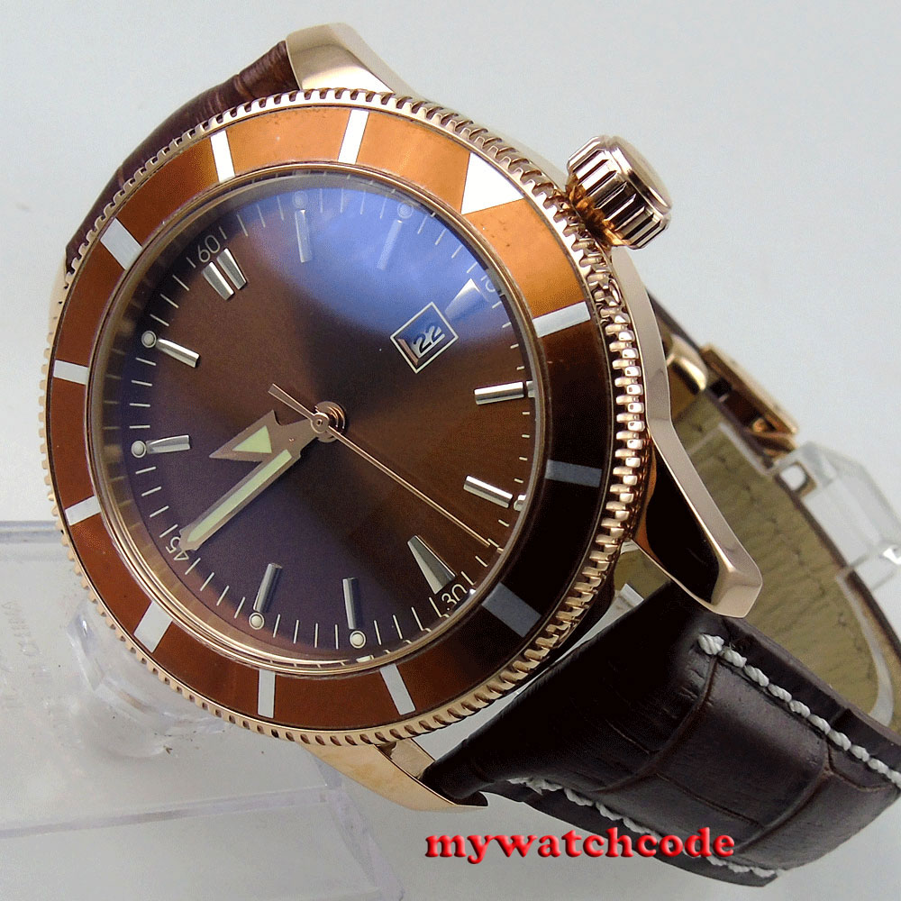 46mm bliger brown dial rose golden case date window automatic mens watch P129 цена и фото
