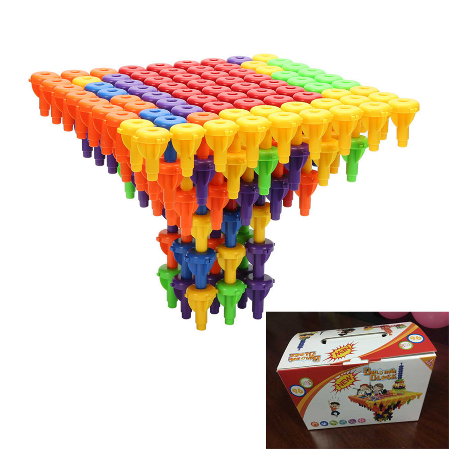 ФОТО High Quality 96PCS Toy Building Blocks Montessori Therapy Fine Motor Toy for Toddlers Gift For Children Free Shipping