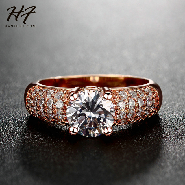 CZ Crystal Engagement Wedding Finger Rings for Women Rose Gold Color Fashion Brand Rhinestone Jewelry For Women R105 R070