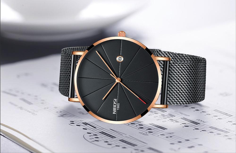 NIBOSI watch men black quartz wristwatches stainless steel mesh brand  watches men ultra thin quartz relogio masculino dourado (12)