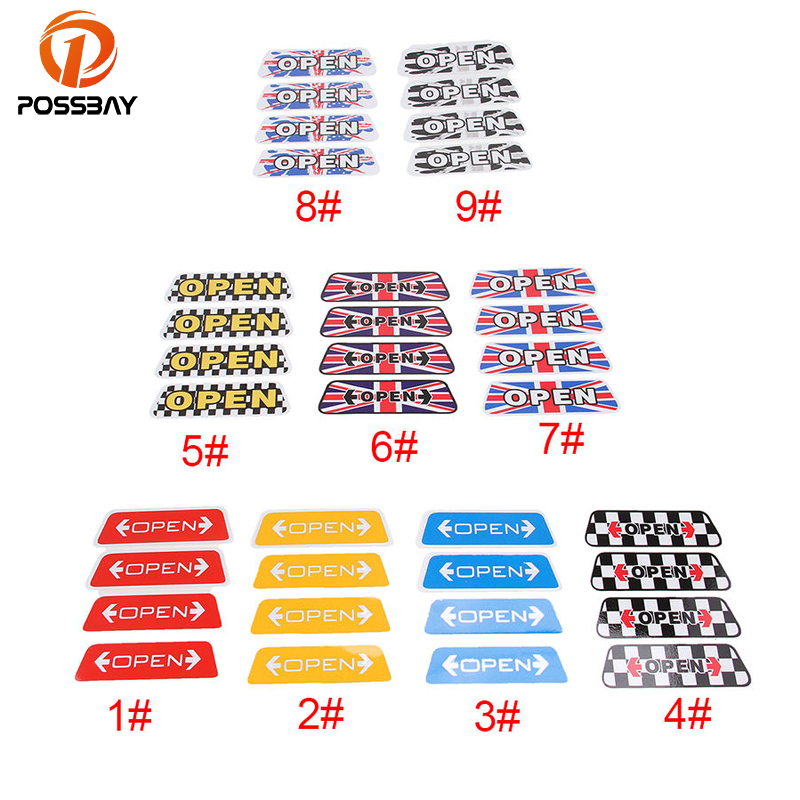 POSSBAY Warning OPEN Car Stickers Reflective Door OPEN Sticker Safety Decals Automobiles Decoration Universal for VW BMW Ford