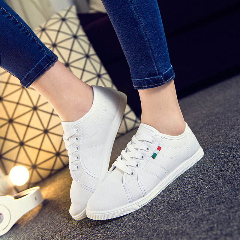 Women Casual Lace Up Flat Canvas Shoes Solid Black Fashion Platform Round Toe Sewing Spring Autumn Ladies Footwear Plus Size asumer black white fashion spring autumn casual ladies flat platform shoes round toe lace up genuine leather flat shoes women