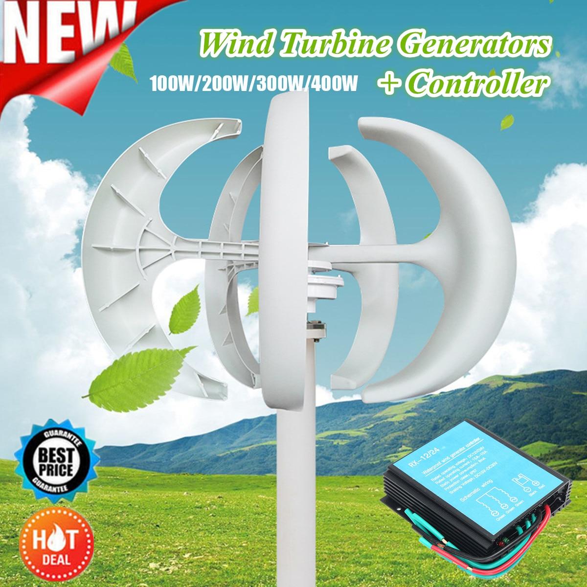100W/200W/300W/400W Wind Generator Lantern 12V 24V 5 Blades Permanent Magnet Generator Turbine + 600W Wind Controller 100w 200w 300w 400w lantern wind turbine generator dc 12v 24v wind power permanent magnet generator 600w wind energy controller