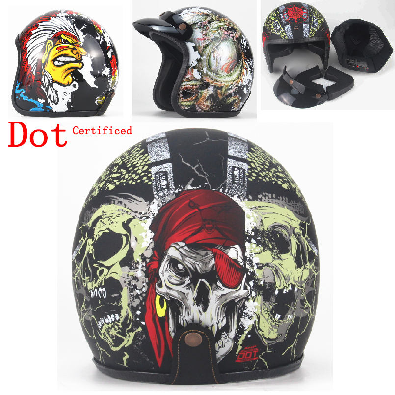 Harley Style Motorcycle Helmet 3/4 Open Face Vintage Casco Moto Jet Scooter Bike Helmet Retro DOT approved Casque Motociclismo