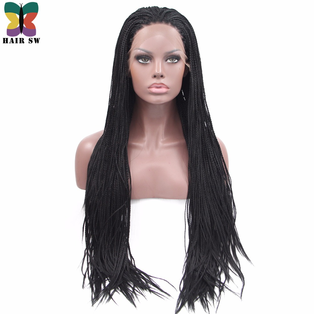 HAIR SW Long Straight Box braids Lace Front wigs Synthetic Fully Hand Micro Braids Handmade Realistic Style Wig For Black Women