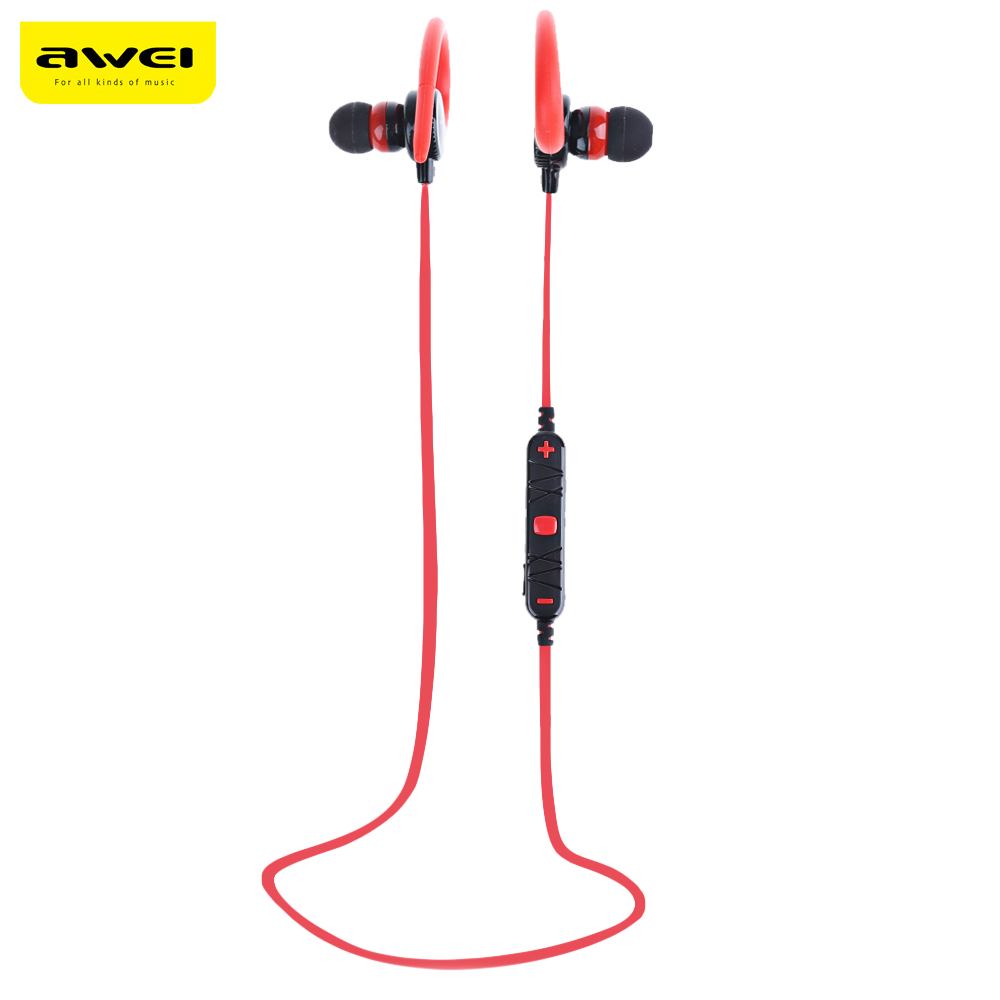 Original AWEI A620BL In-Ear Wireless Bluetooth Stereo Earphones With MIC Ear Hook Headset 5.1 Channel CVC 6.0 Noise Reduction awei q5i in ear earphones with mic gold