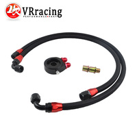 VR RACING - OIL FILTER SANDWICH ADAPTER BLACK + SS NYLON STAINLESS STEEL BRAIDED AN10 Fuel Oil Line VR6721BK+3701W+3702W