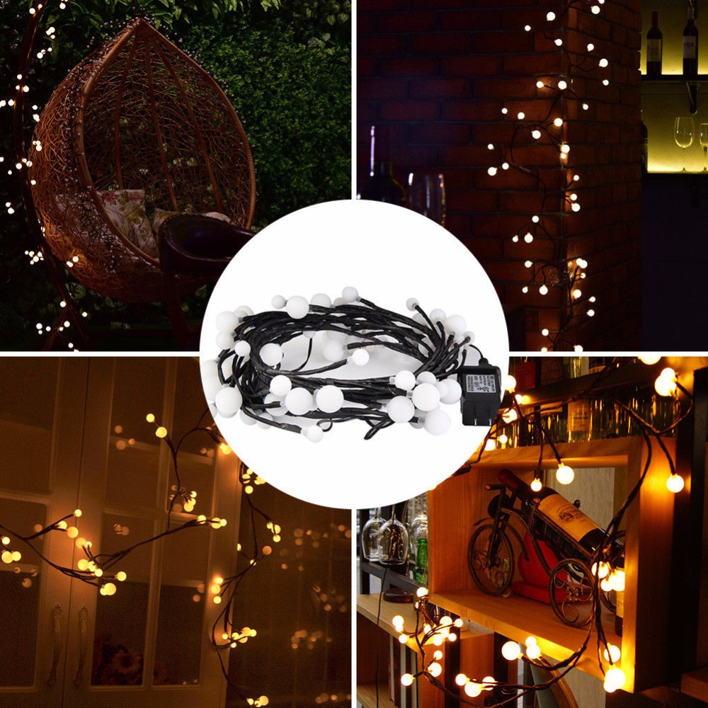 LED String Light 2.5M 72 Bulbs Waterproof Holiday String Lighting Christmas Lights Party Outdoor Decor Warm White EU/US Pulg
