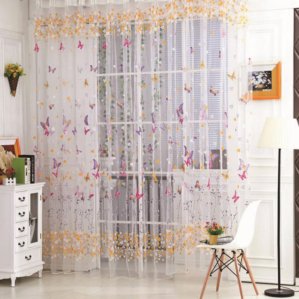 Butterfly Print Sheer Curtain Panel Window Balcony Tulle Room Divider Home