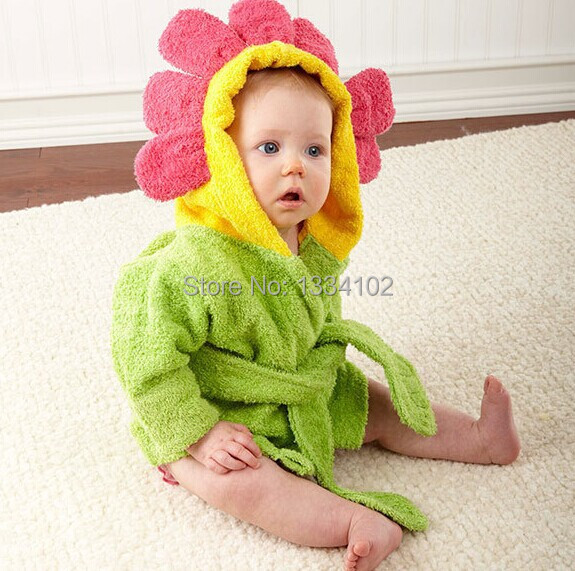 Hot! Retail boy girl Animal Baby bathrobe / baby hooded bath towel/kids bath terry children infant bathing / baby robe HoneyBaby
