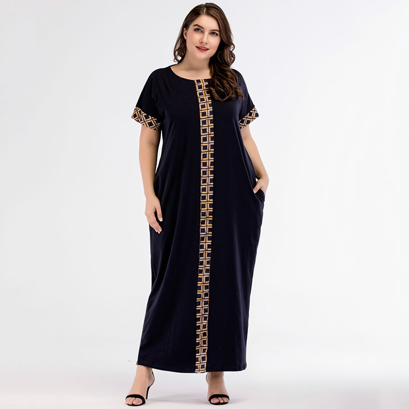 Casual Print Maxi Dress Knitted Muslim Abaya Full Skrit Loose Kimono Long Robe Gowns Ramadan Middle East Arab Islamic Clothing