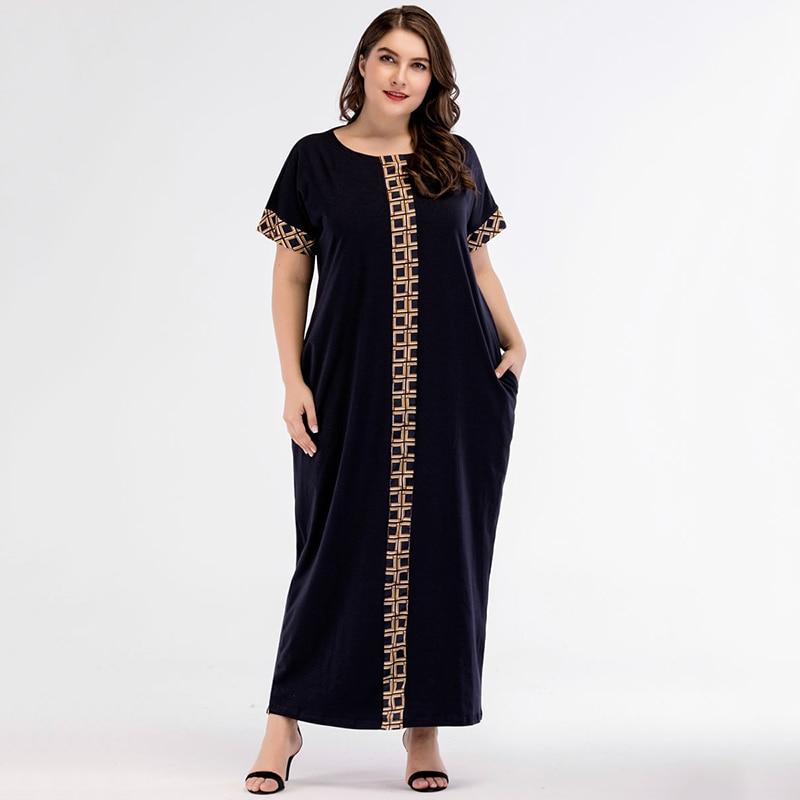 Casual Print Maxi Dress Knitted Muslim Abaya Full Skrit Loose Kimono Long Robe Gowns Ramadan Middle East Arab Islamic Clothing