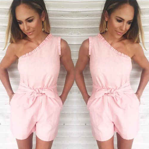 fb2de338ea3 ... One Shoulder Jumpsuit Women Casual Loose Off Shoulder Sleeveless Short  Playsuit Rompers Womens Jumpsuit Bodysuit Pink