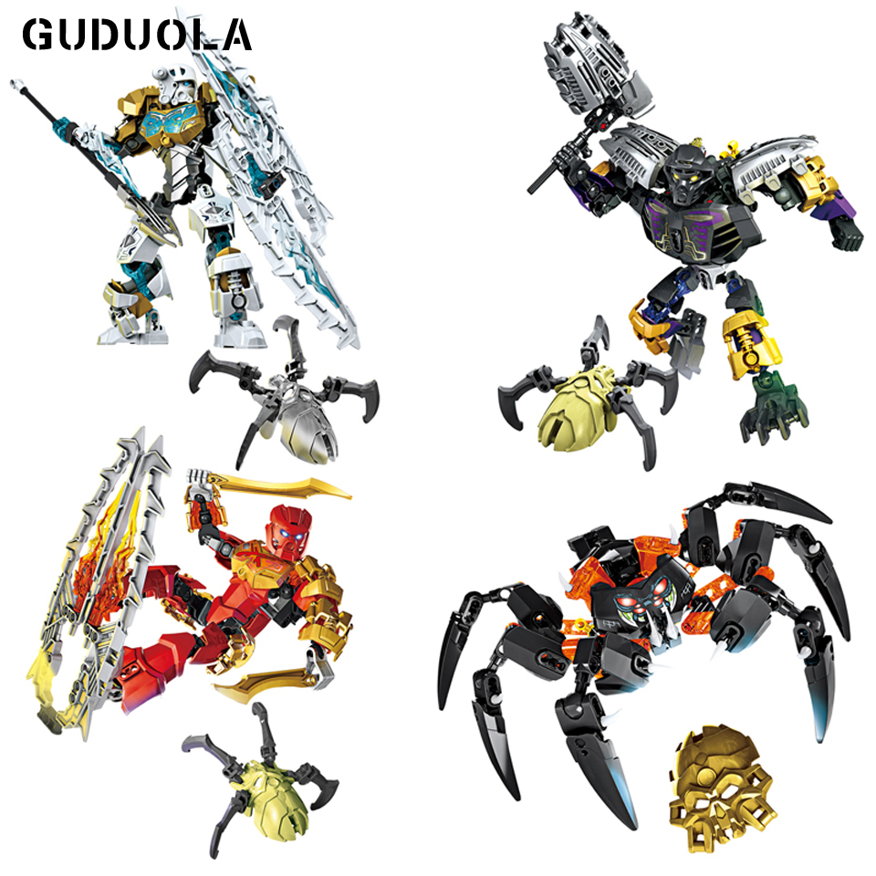 Selfless Guduola Bionicle 4 Pcs/set Earth Ice Fire Skull Spiders Action Figures Building Blocks Toys Compatible Legoing Bionicle Boy Gift Last Style Blocks